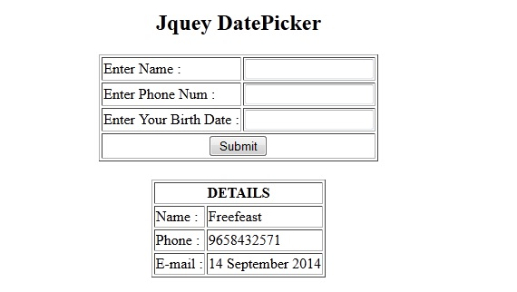 JQuery DatePicker Example in PHP