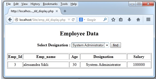 Dropdown list in PHP1