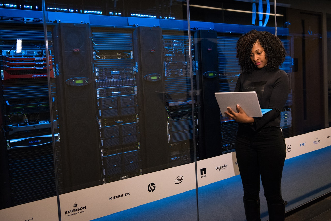 Woman Checking The Server