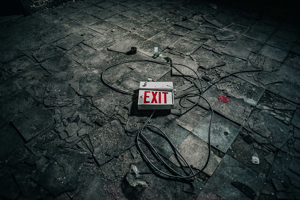 exit on black surface