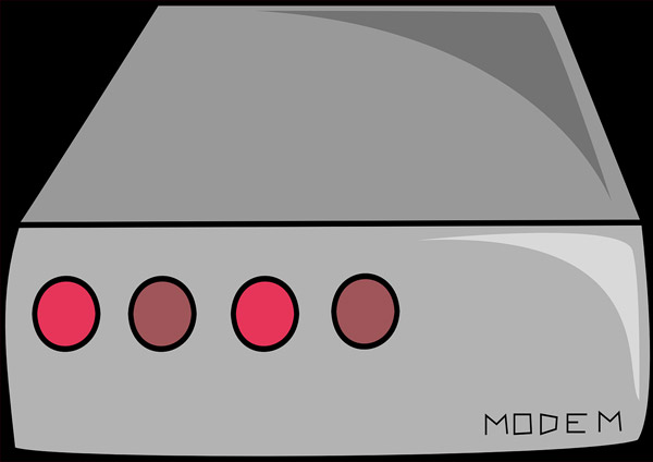 modem in color gray cartooned