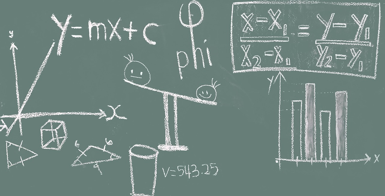 Math formulas on a green board