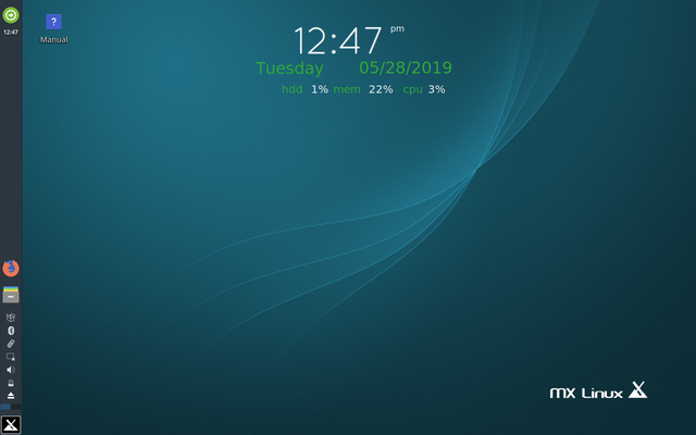 Default Homescreen of MX Linux 8.3